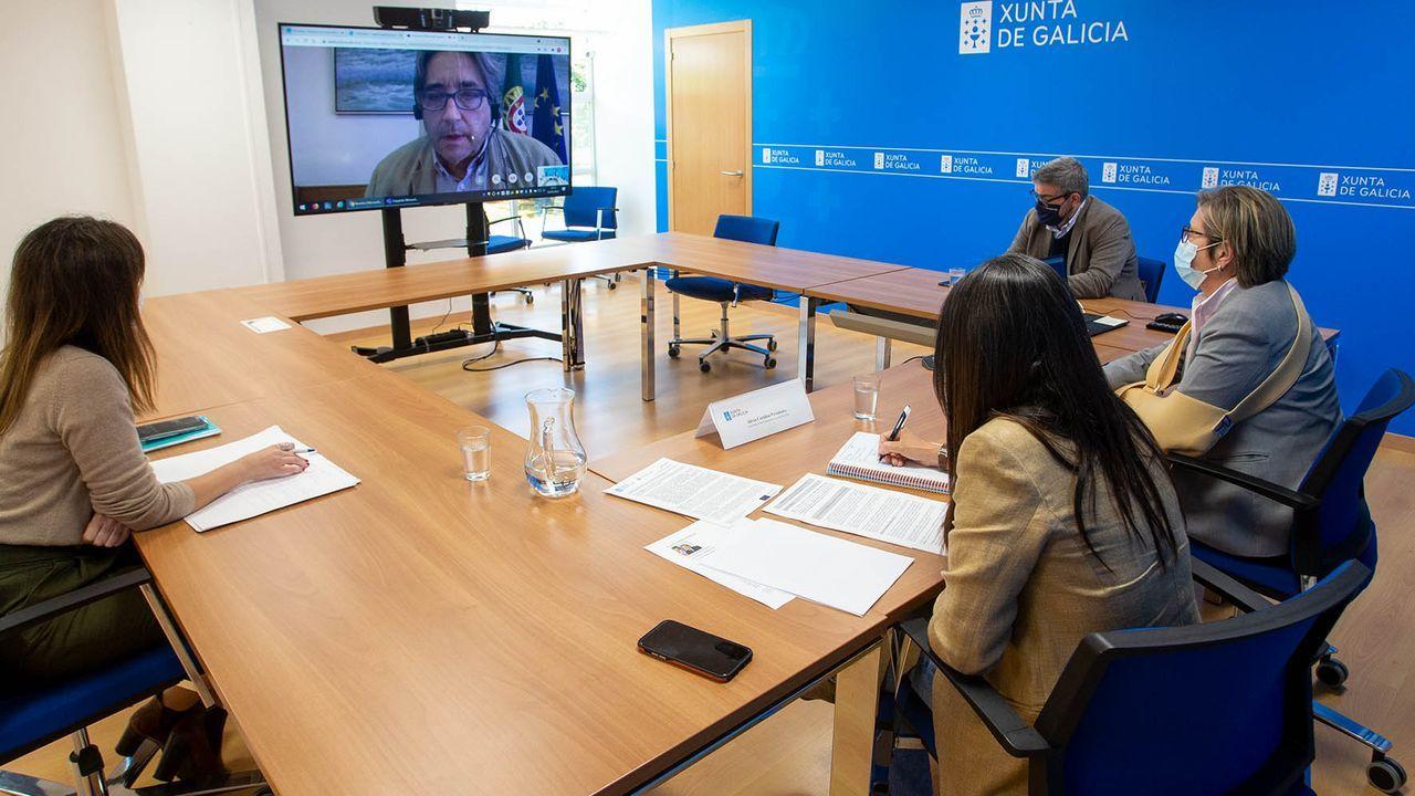 Un momento de la reunión por videoconferencia entre el ministro de Mar de Portugal, ahora presidente del Consejo de Ministros de Pesca de la UE, y la conselleira de Mar Rosa Quintana