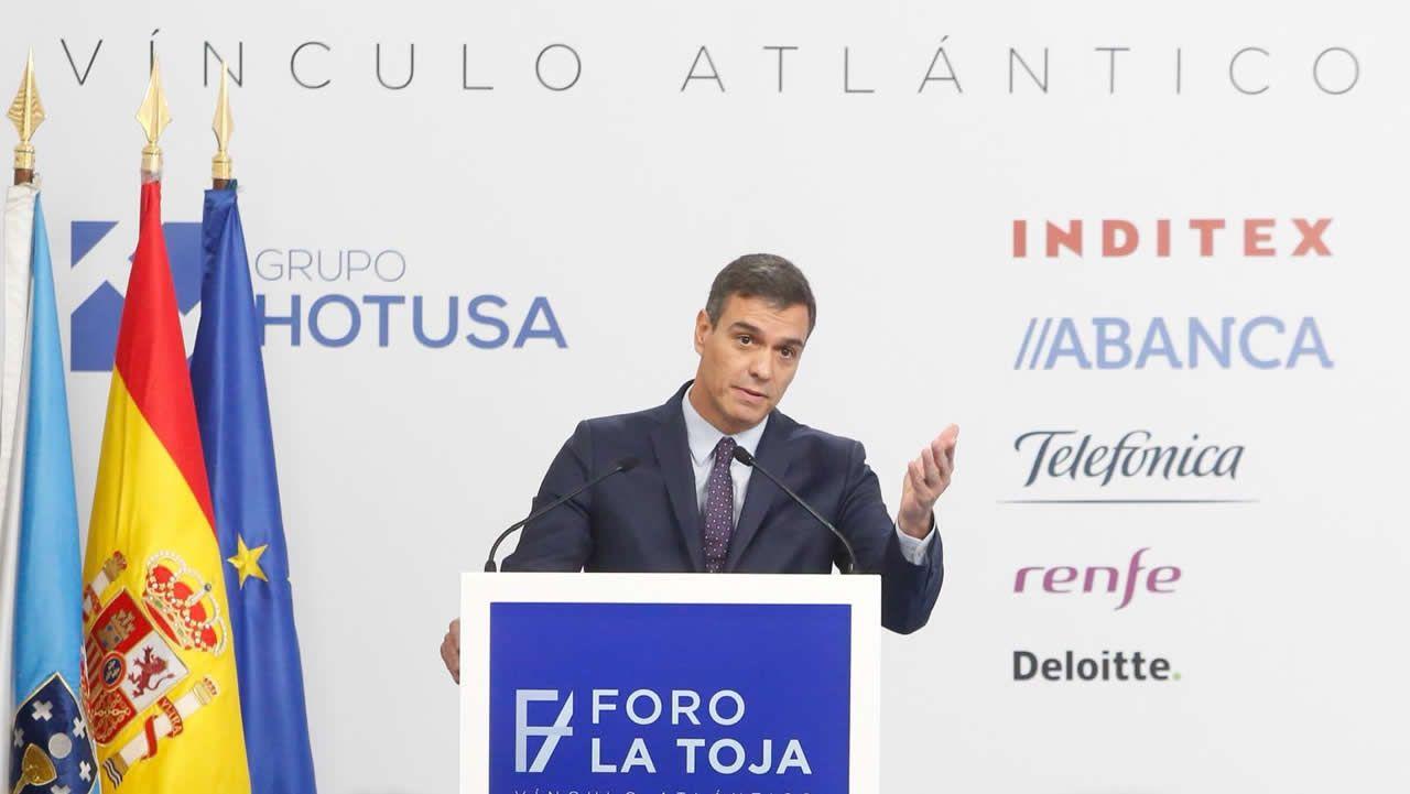 Pedro Sánchez, durante su intervención en el Foro La Toja