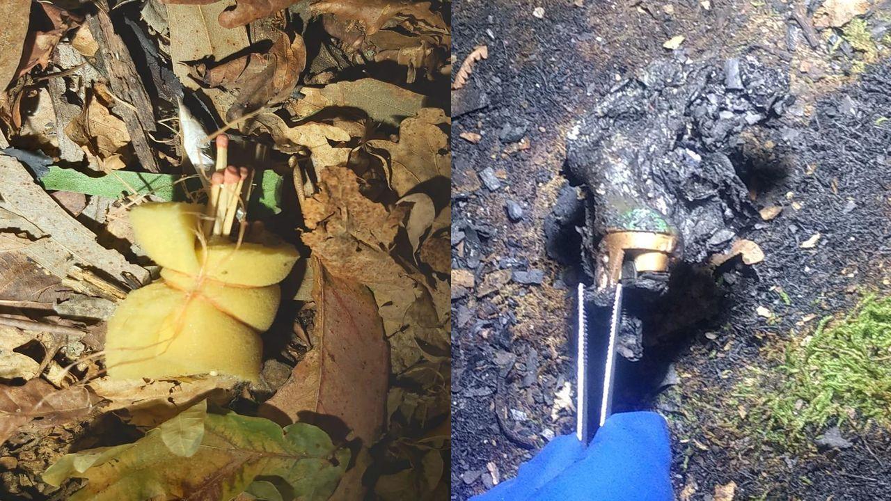 Detalle de los artefactos (uno sin prender y el otro quemado) localizados en distintos puntos de Galicia en los últimos días