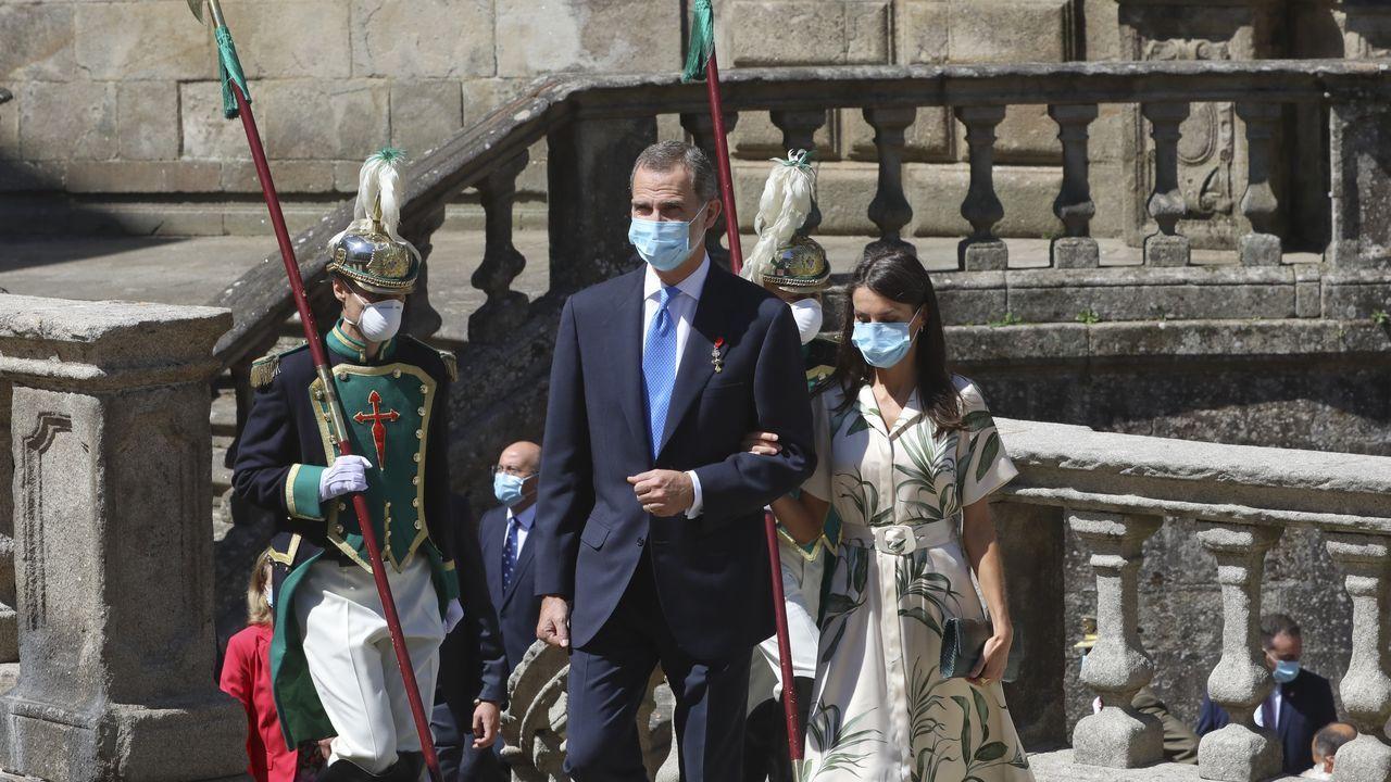 Los reyes Felipe VI y Leticia en visita a Santiago el  25 de julio