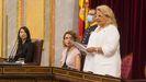 Ángeles Pedraza, ayer en el Congreso durante su discurso de homenaje a las víctimas del terrorismo