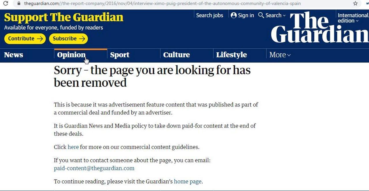 Aviso en la web de The Guardian de que el «contenido publicitario» ha sido retirado (en alusión a la entrevista con Ximo Puig)
