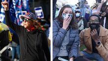 A la izquierda, una seguidora de Trump protesta en Pensilvania;  a la derecha, dos jóvenes, en una sentada cerca de la Casa Blanca