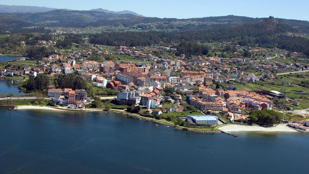 Vista aérea del núcleo de Ponte Sampaio, en Pontevedra