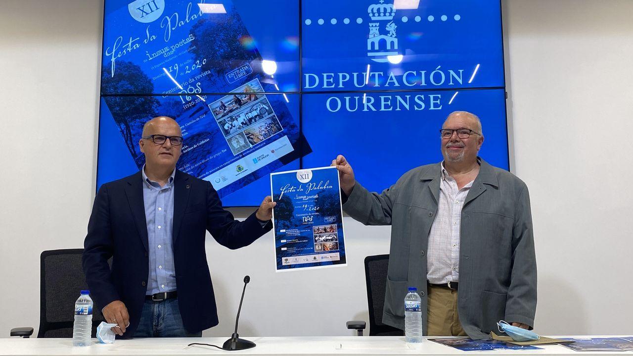 Jose Manuel Baltar y Luis Gonzalez Tosar, durante la presentación de la Festa da Palabra
