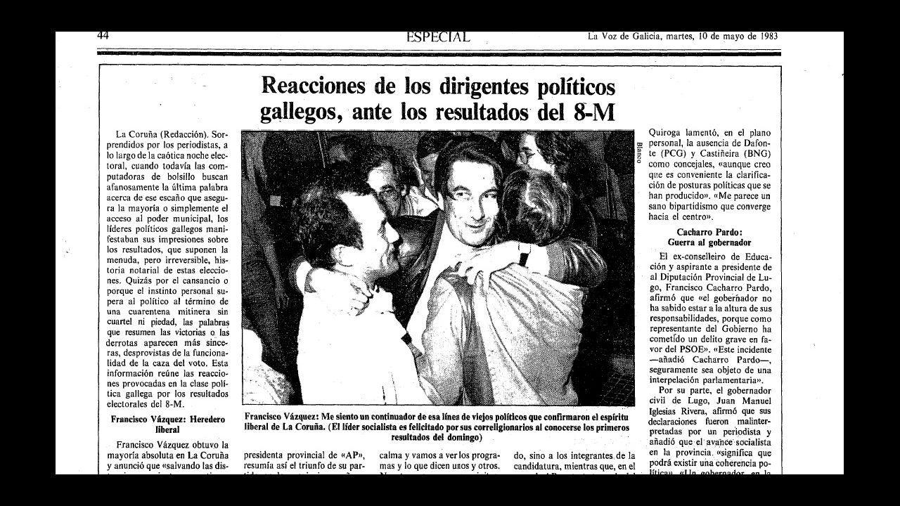 Detalle de una página de La Voz en la que se recogen las valoraciones de los protagonistas políticos sobre los resultados electorales de las municipales de 1983