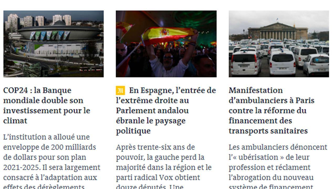 Pantallazo de la portada de «Le Monde»