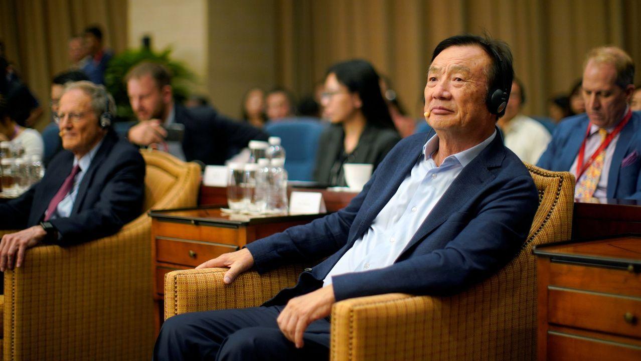 El fundadory presidente de Huawei, Ren Zhengfei, durante una conferencia en la sede central de la compañía en Shenzhen (China) este año.