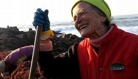 Mercedes Lomba, recogedora de algas, participa en el proyecto.