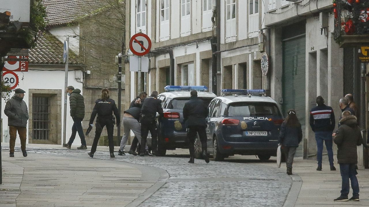 Momento en el que los agentes de la Policía Nacional detienen al hombre tras resistirse y agredirles cuando quisieron identificarle
