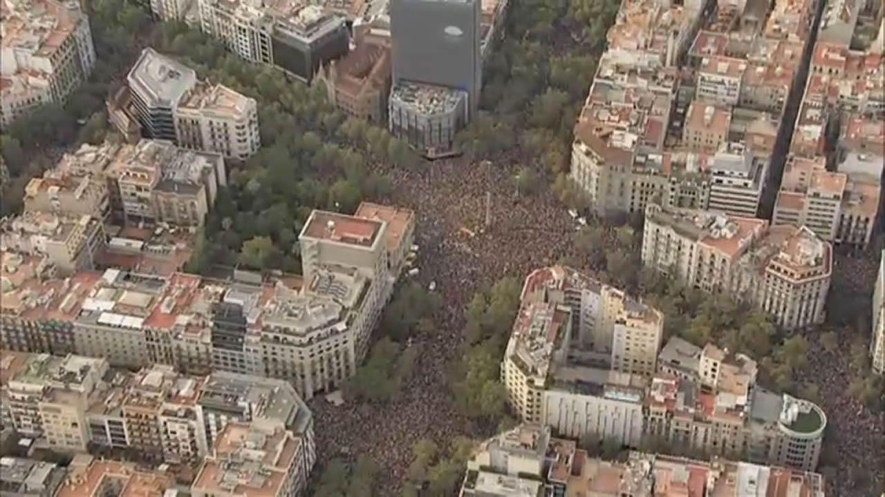 Más de medio millón de asistentes en la manifestación de esta tarde en Barcelona según la Guardia Urbana