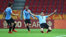 Darwin Núñez, con el dorsal 9, celebra un gol en el Mundial Sub-20