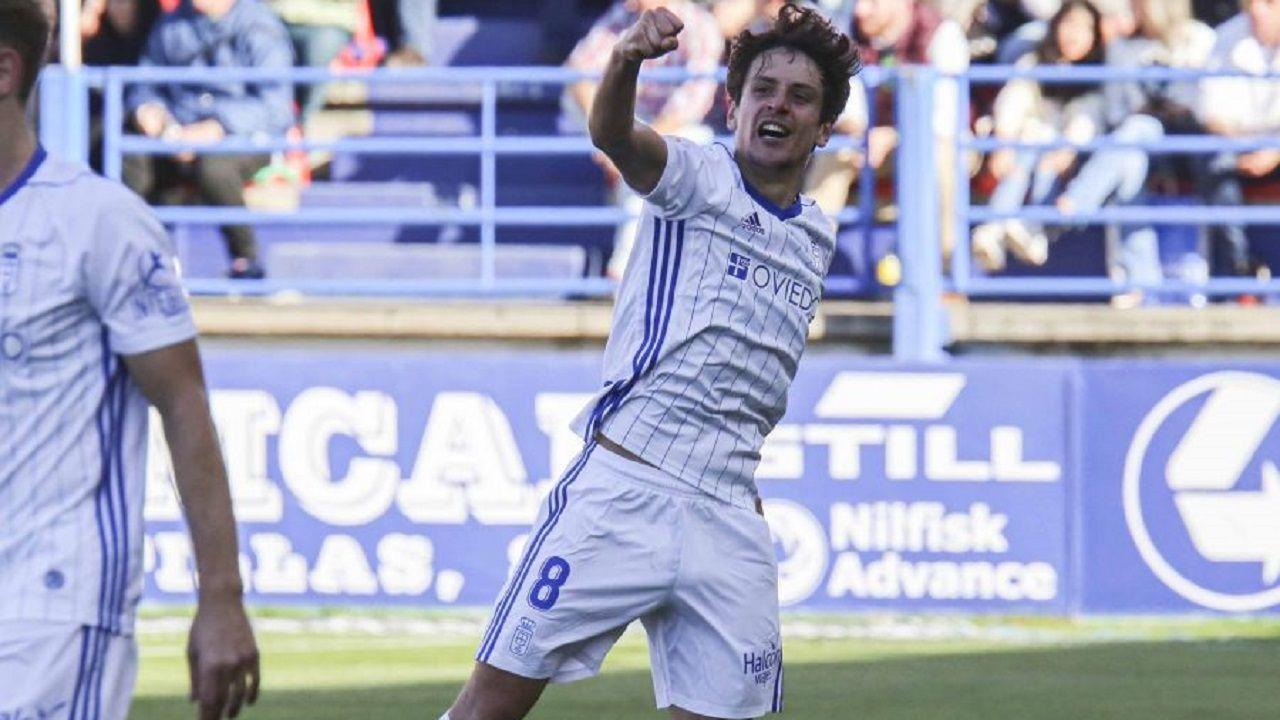 Sangalli celebra el 0-2 al Extremadura