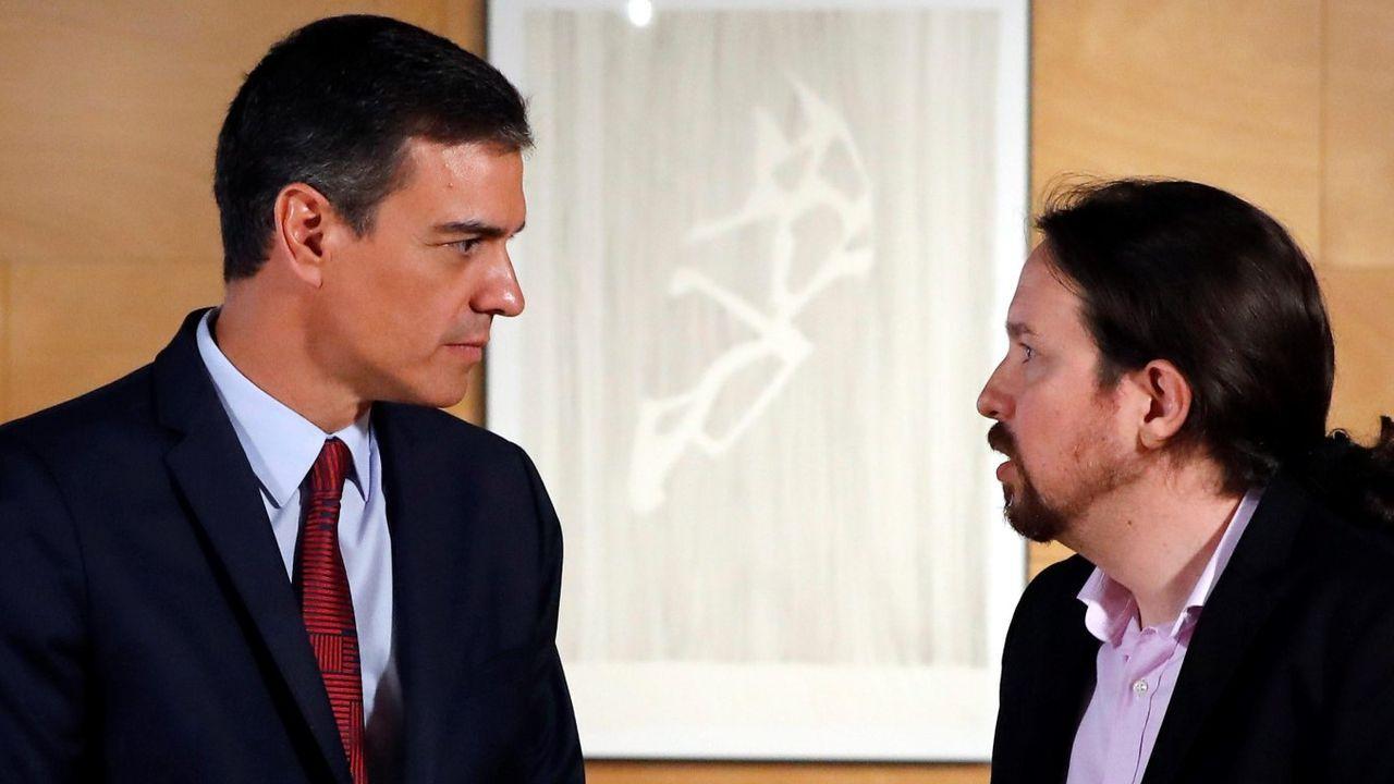 Pablo Casado acompaña a Núñez Feijoo en la apertura del curso político.Pedro Sánchez y Pablo Iglesias llevan mucho tiempo mostrándose desprecio y desconfianza mutua