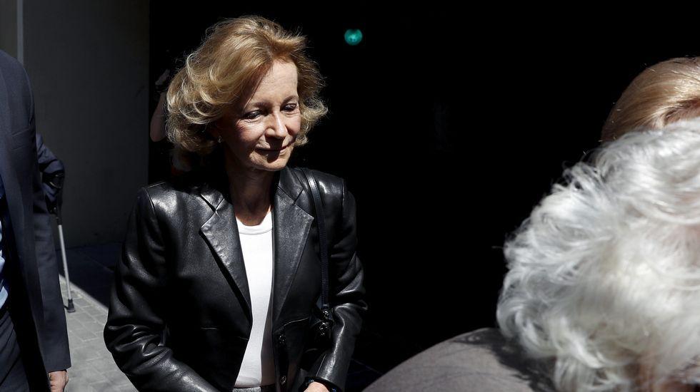 La exministra Elena Salgado en la sede del PSOE.