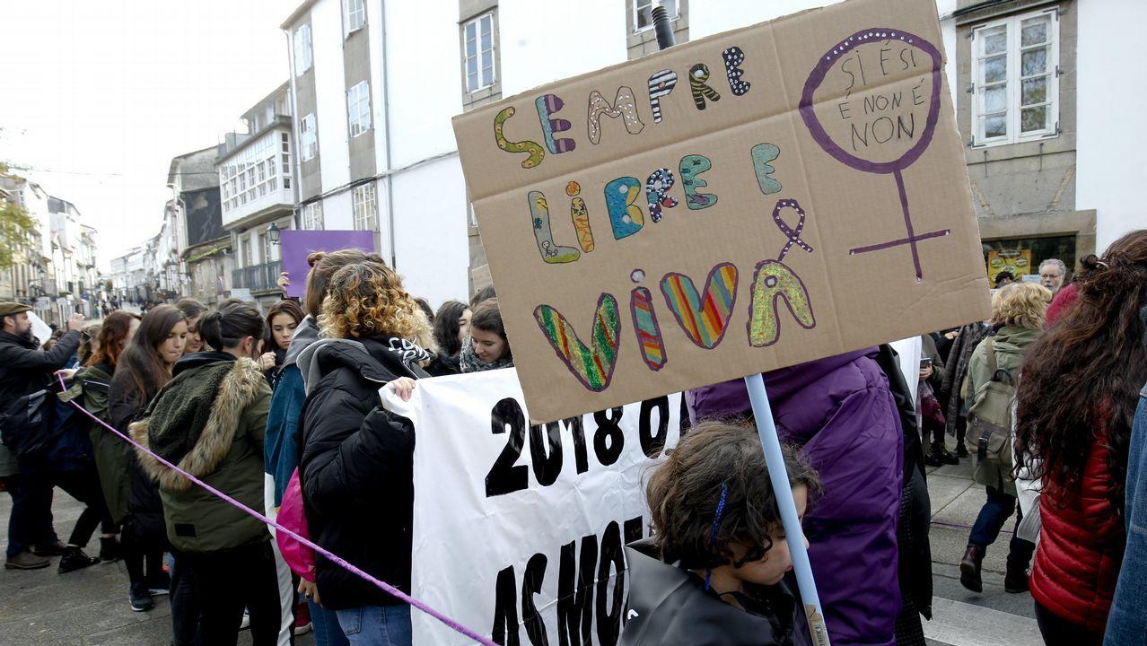 Manifestación contra la violencia de género en Santiago