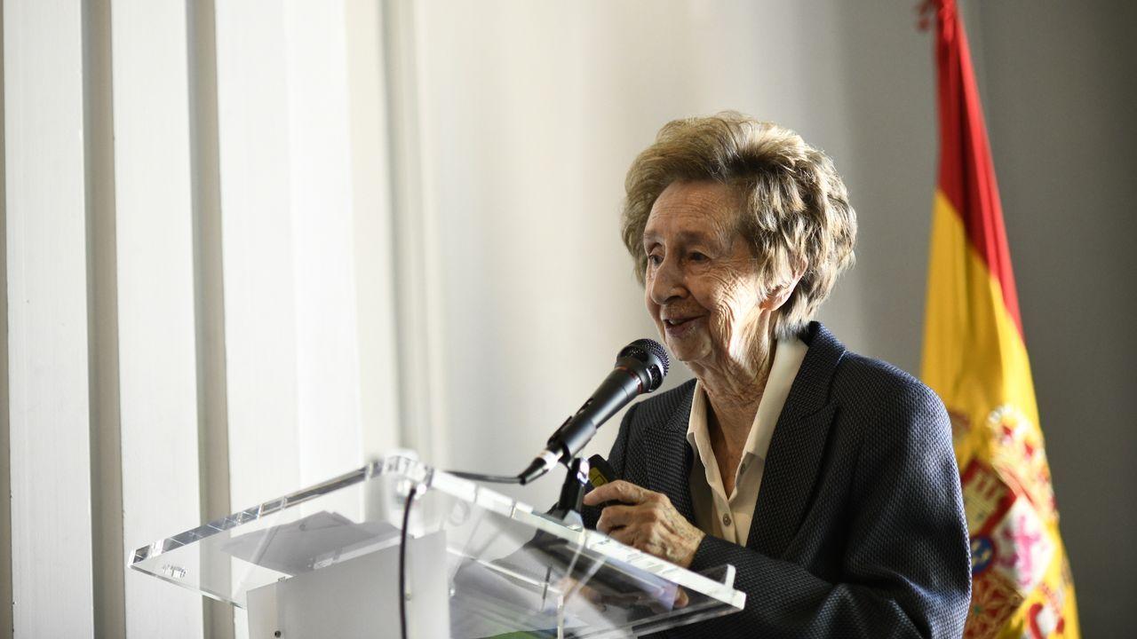 La bioquímica y ganadora del Premio Inventor Europeo 2019, Margarita Salas, durante su intervención en el acto de homenaje, en el Instituto Nacional de Investigación y Tecnología Agraria-INIA.