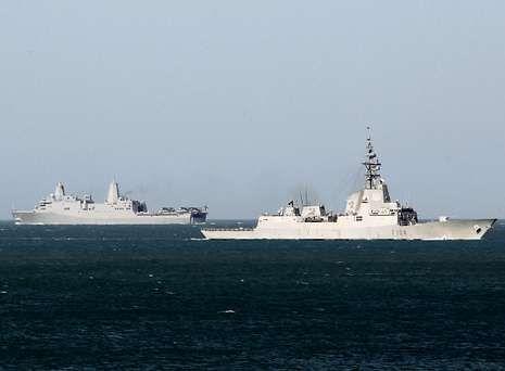 portada.Dos barcos de la Armada patrullan en aguas gaditanas dentro del operativo de seguridad desplegado por la cumbre.