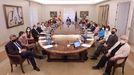 Foto de todos los ministros en sala histórica del Consejo, donde participarán en el primer Consejo de Ministros tras la remodelación del Gobierno, a 13 de julio de 2021, en Madrid