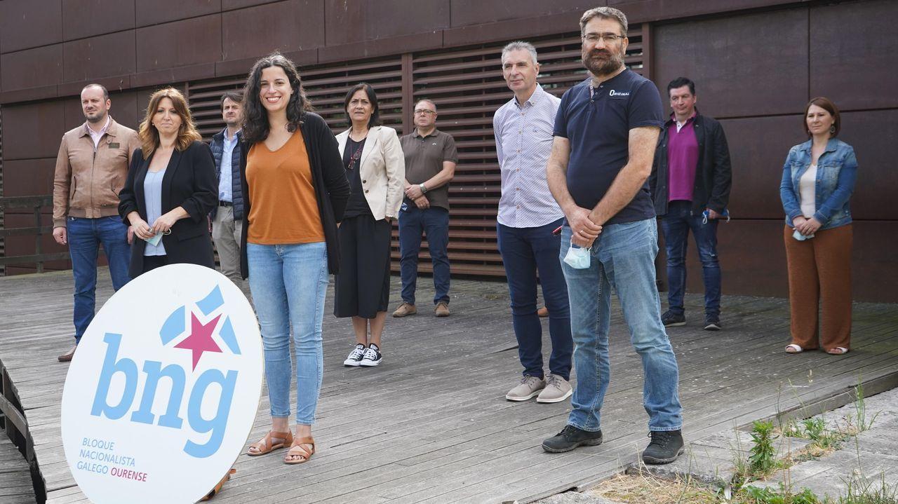 Rali de Ourense 2020.Noa Presas, cabeza de lista del Bloque en Ourense, y a su izquierda, la alcaldesa de Allariz, Cristina Cid