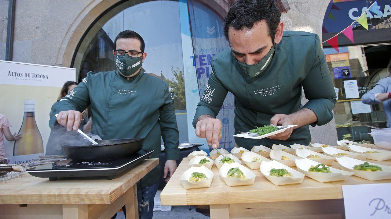 Los cocineros de Pontevedra demostraron qué pueden hacer con el marisco.Los jueces de MasterChef, Pepe Rodríguez, Samantha Vallejo-Nágera y Jordi Cruz, en un momento de la grabación en Asturias