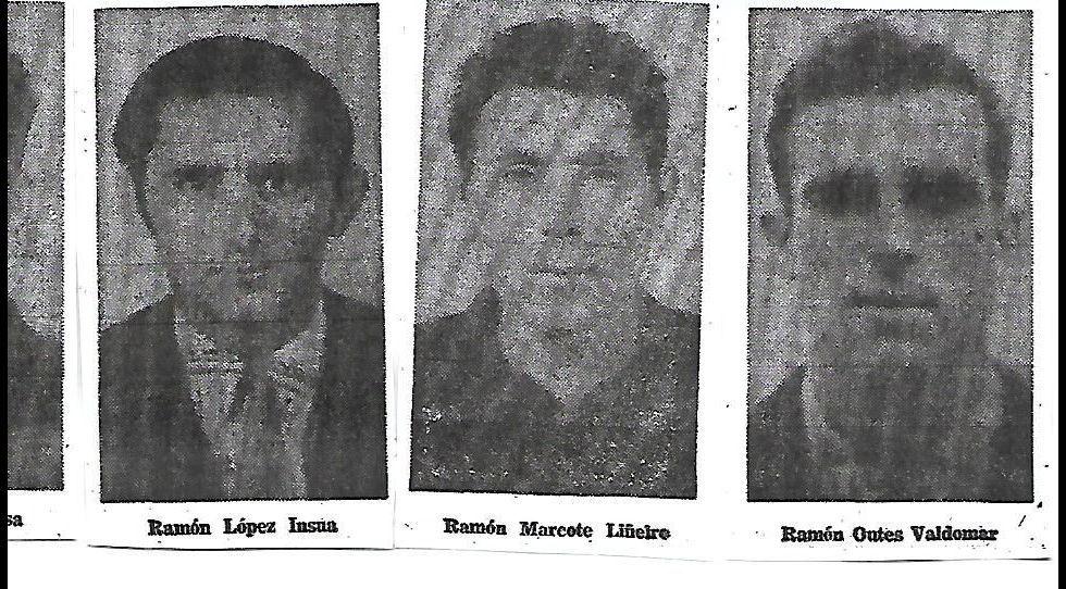Tres de los náufragos del Begoña, en el año 1976