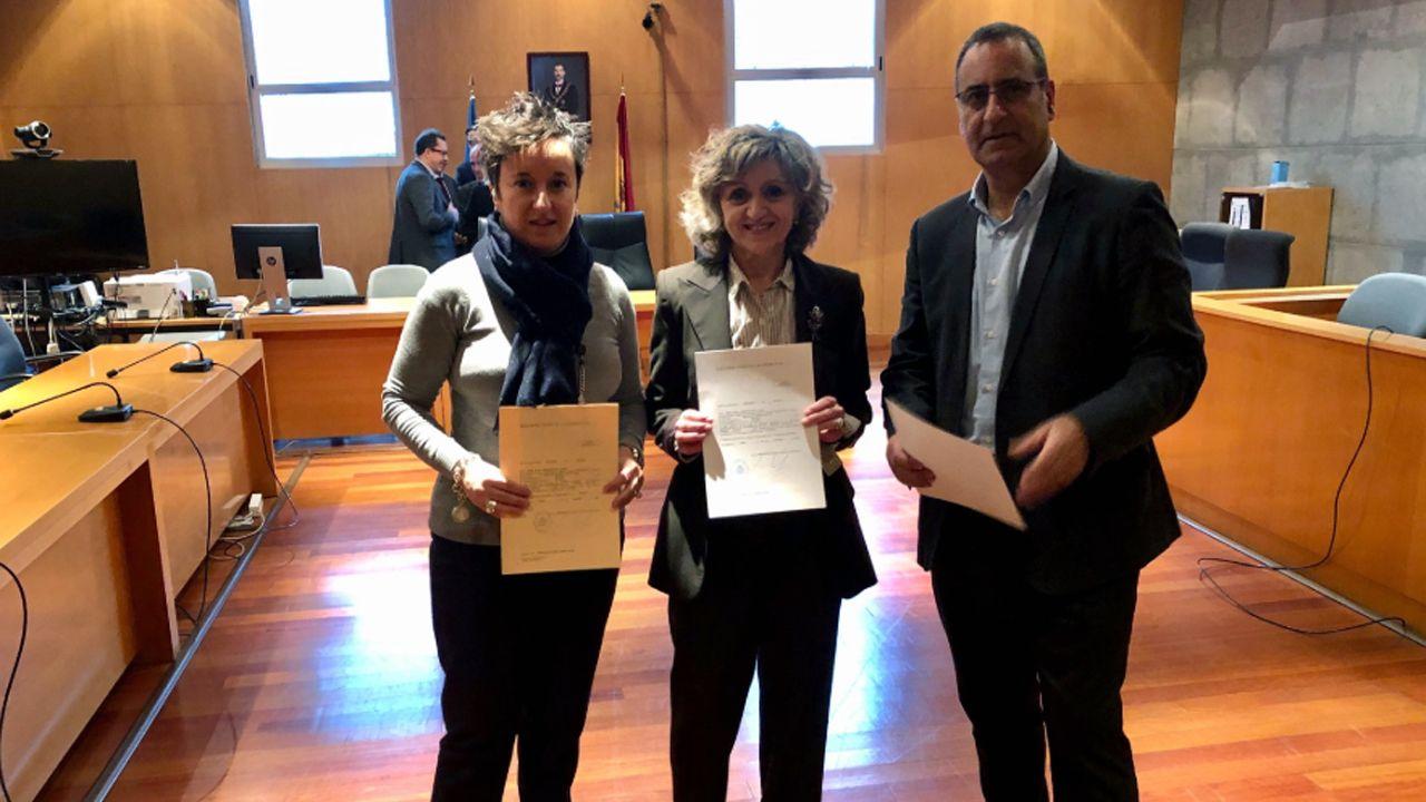 Asturias se reivindica en Fitur.María Fernández, María Luisa Carcedo y Fernando Lastra en la recogida de actas de diputados y senadores