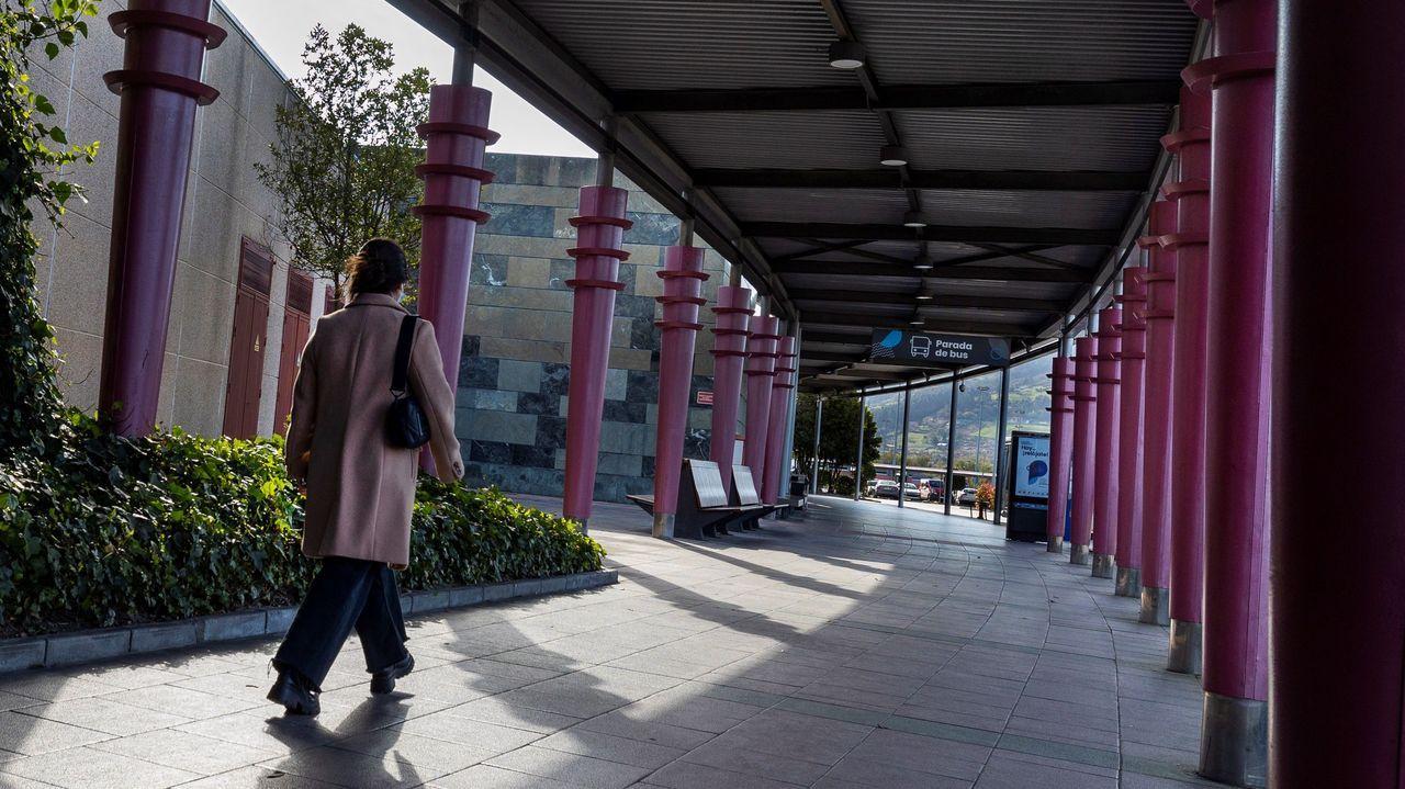 Una mujer camina por las inmediaciones de Parque Principado, en Siero