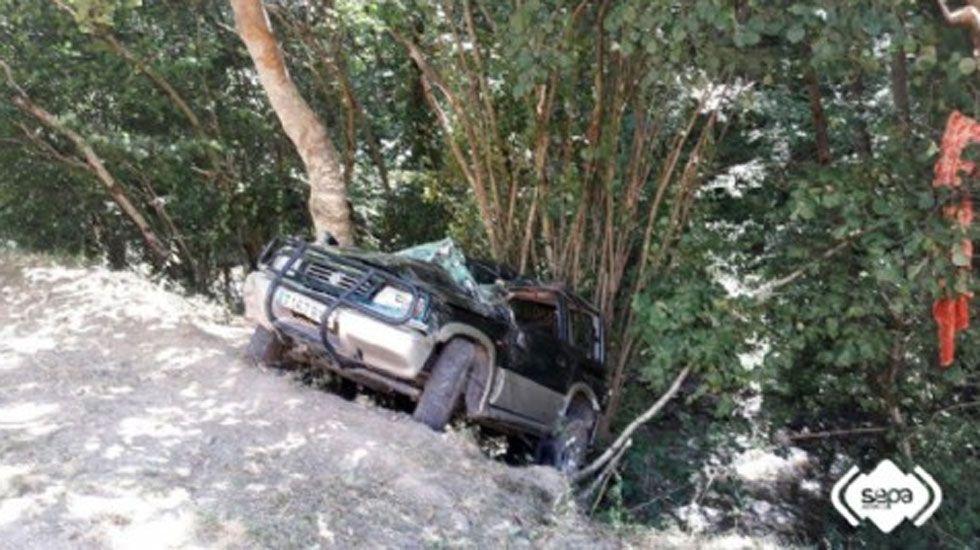 Unárbol frena 50 metros decaída de un automóvil en Cangas del Narcea.El hombre herido por la coz recibe las atenciones de efectivos del SEPA