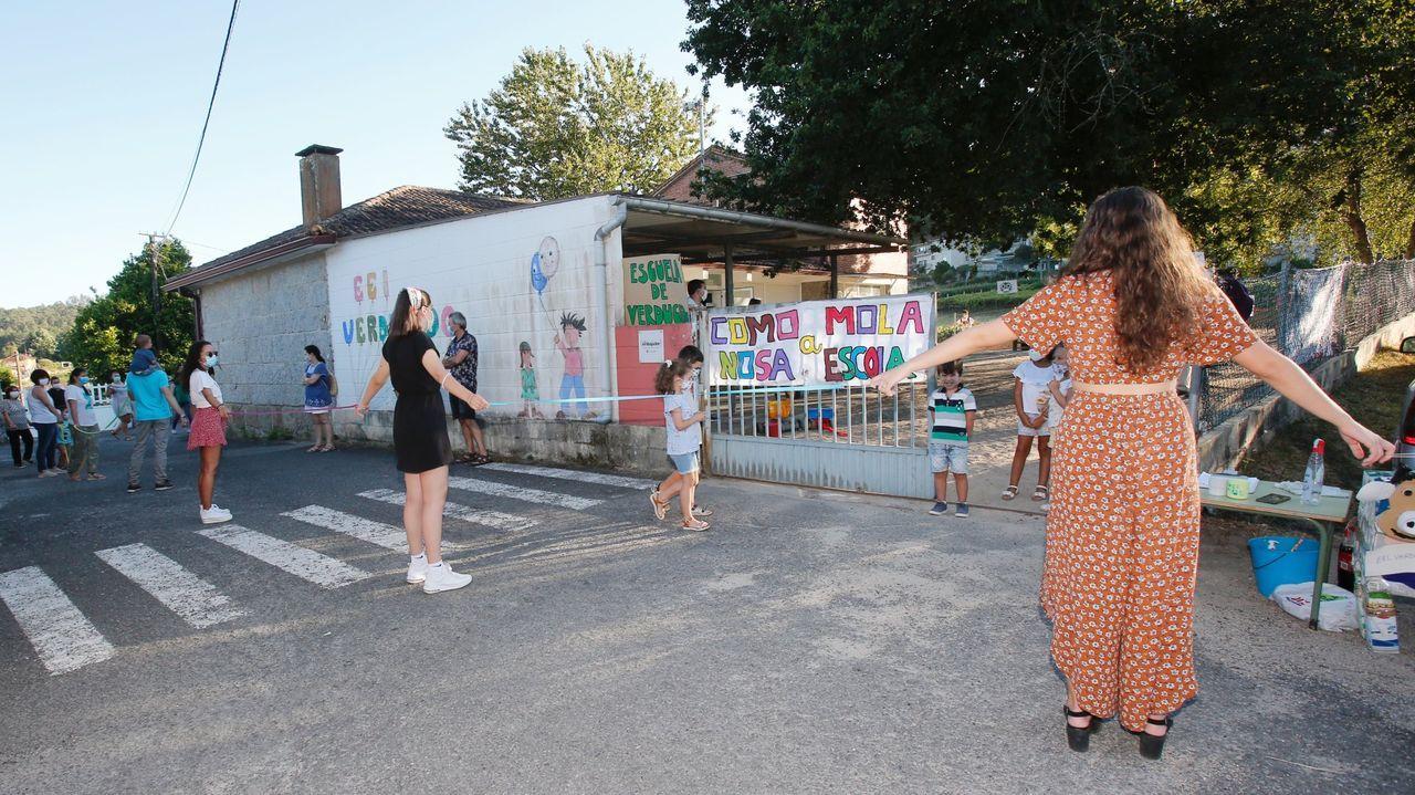 Una de las protestas en la escuela infantil de Verducido, en julio del 2020