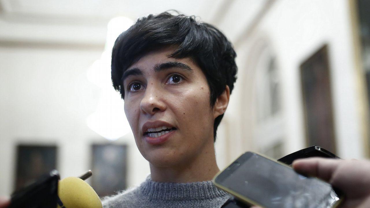 Así fue la entrada a declarar de Claudia Delso.Movilización contra el desahucio de Aurelia Rey, en el 2013, en A Coruña