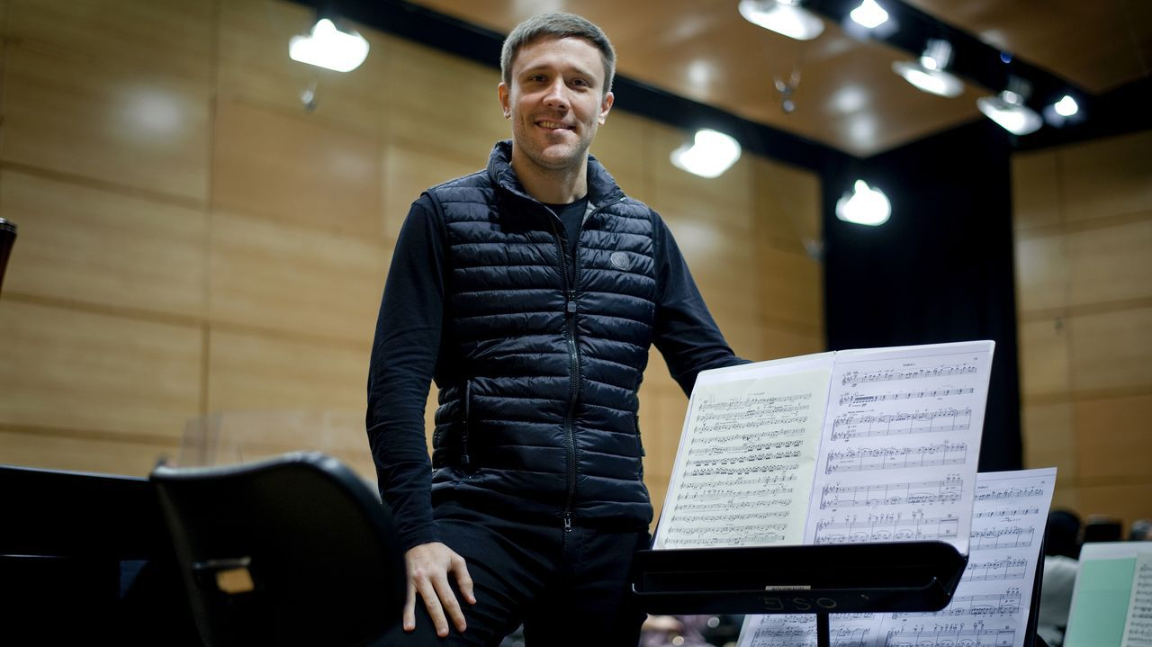 González-Monjas, tras su ensayo con la Orquesta Sinfónica de Galicia