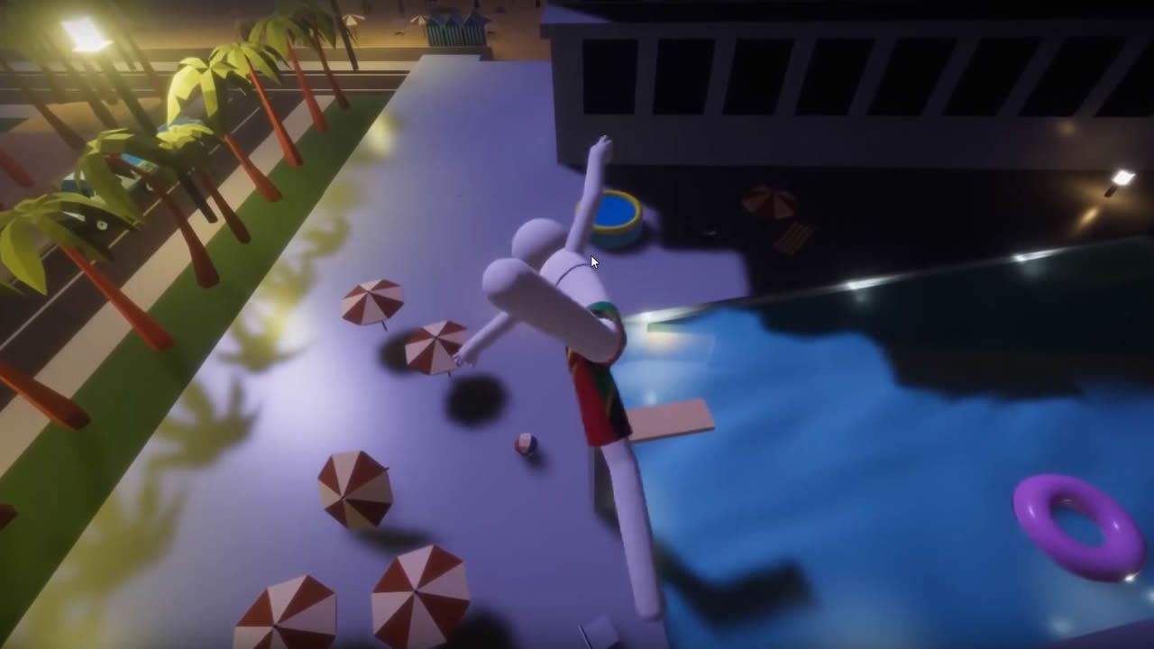 Finalmente, se lanza al vaciío, intentando alcanzar el agua de la piscina