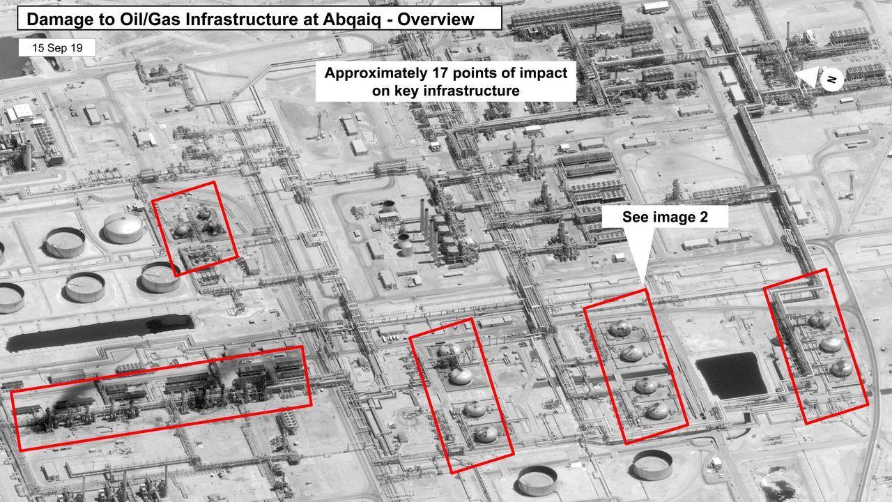 Estados Unidos difundió imágenes de satélite con los lugares atacados en las refinerías en Abqaiq y Khurais que probarían la autoría de Irán