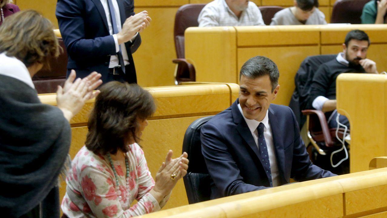 Casado dice que Torra busca un «derramamiento de sangre».Pedro Sánchez, aplaudido por Carmen Calvo tras intervenir en el Senado, respondió a quienes exigen la ilegalización de fuerzas secesionistas que «los problemas se solucionan, no se prohíben»