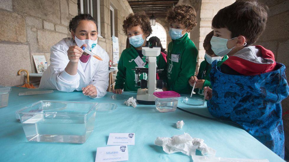 Laboratorio de la Universidad de Oviedo.Talleres científicos en la Praza Maior