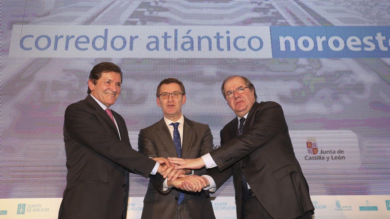 Encuentro de presidentes deGalicia, León y Asturias para el impulso delcorredor atlántico.El presidente de la Xunta, Alberto Núñez Feijoo