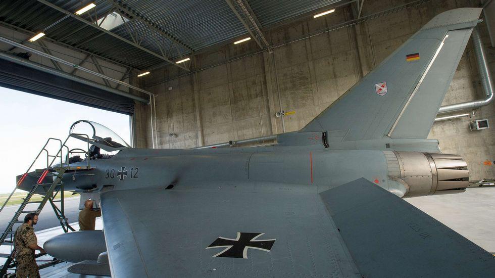 Las tropas de la OTAN descansan en Vigo.Uno de los Eurofighter alemanes utilizados para patrullar sobre el mar Báltico.