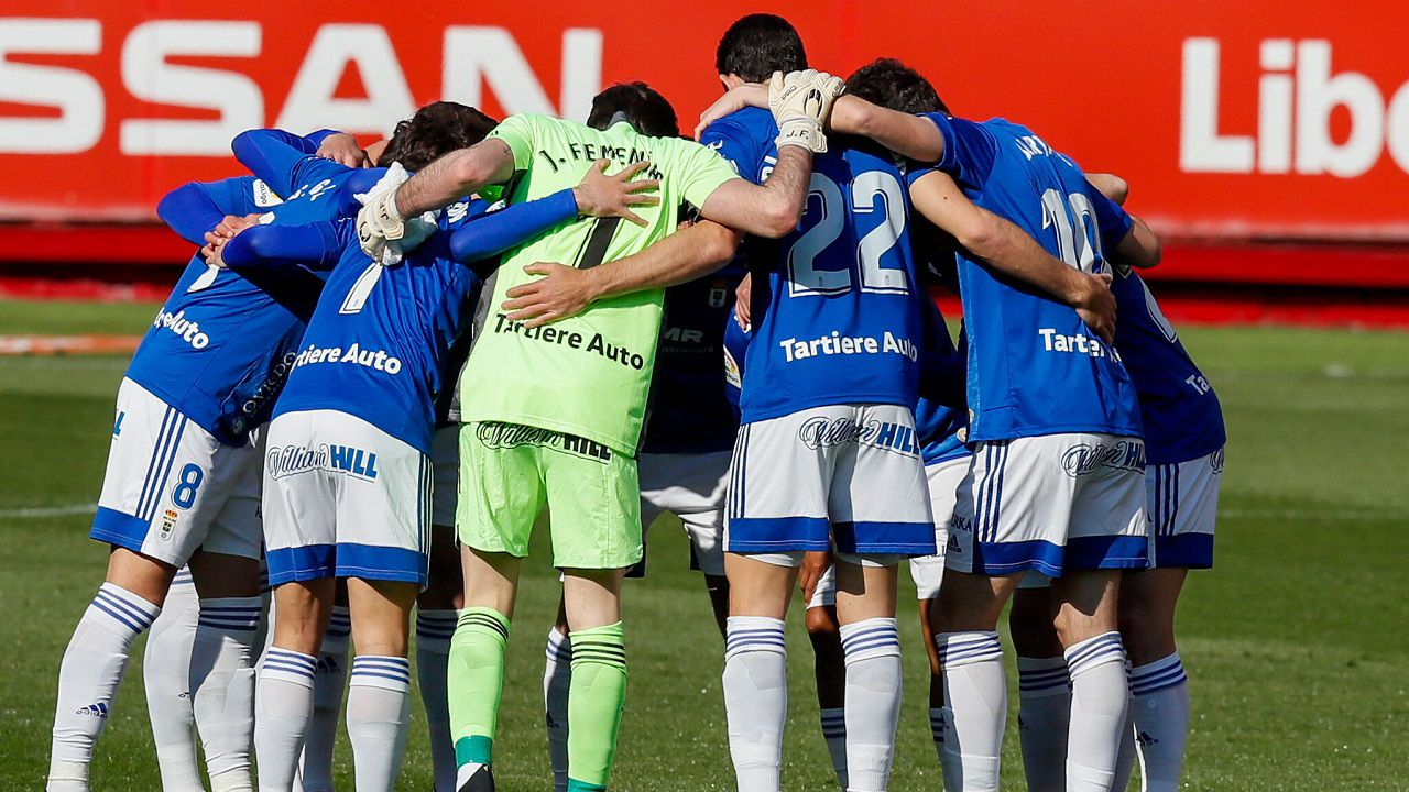 Real Oviedo Sporting derbi asturiano El Molinón.Los futbolistas del Real Oviedo se conjuran antes del derbi ante el Sporting