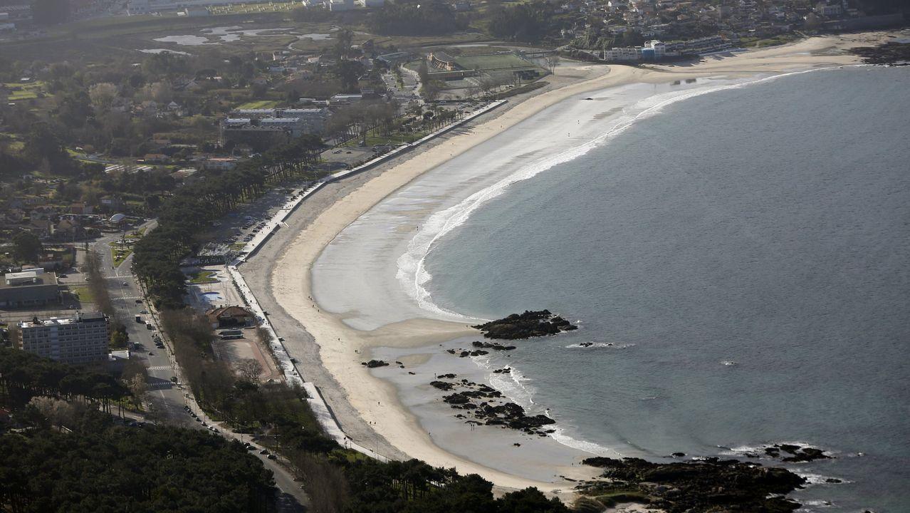 Vista aérea de archivo de la playa de Samil