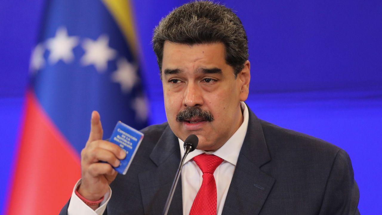 Nicolás Maduro, en rueda de presna ayer
