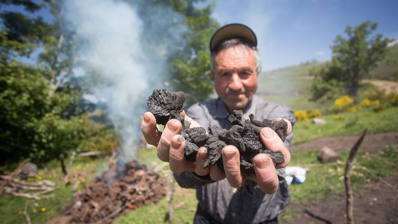 Bernucho es de las pocas personas que continúa haciendo carbón vegetal a partir de raíces de uz.Estos días se vivieron grandes colas en el covid-auto del HULA