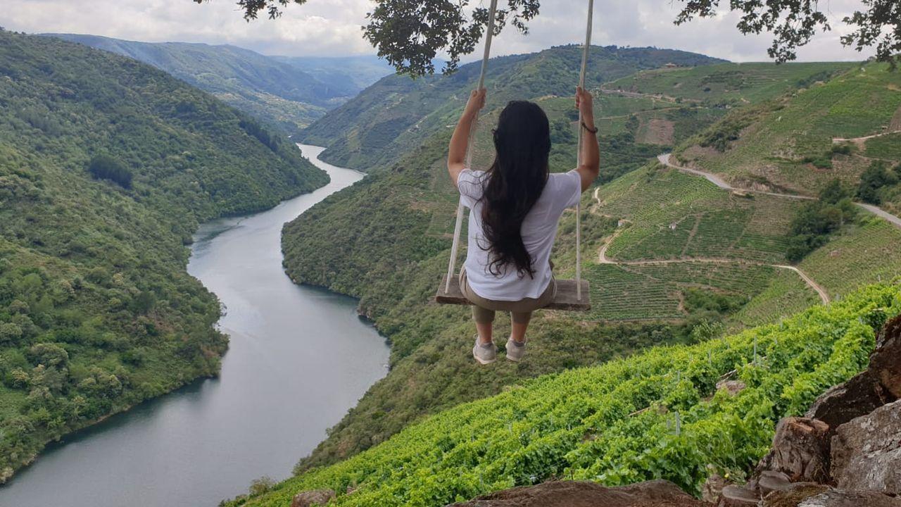 El columpio instalado por Breogán Pereiro en su viña tiene de fondo esta espectacular vista del cañón del Sil