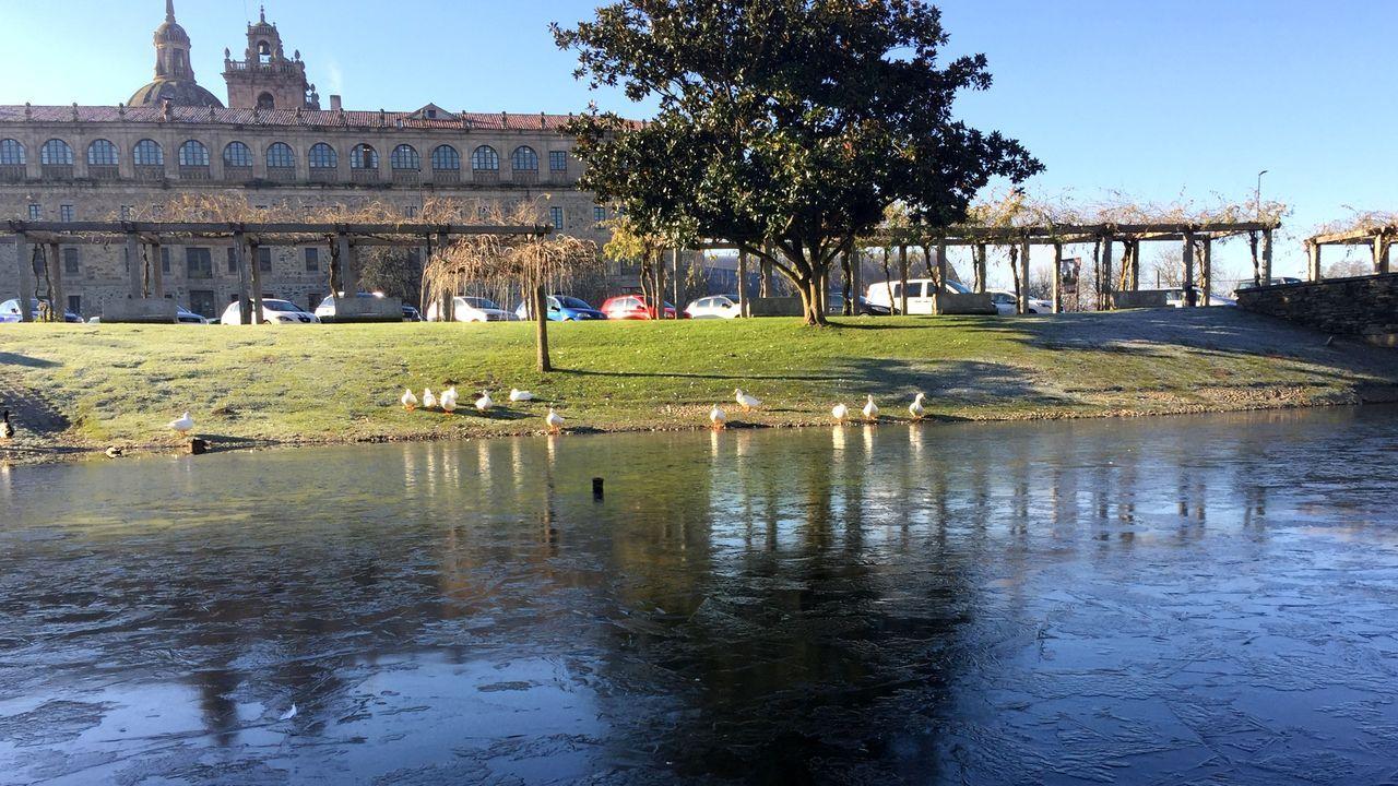 La laguna del Parque dos Condes permanecía congelada en buena parte a media mañana tras el intenso frío registrado durante la madrugada