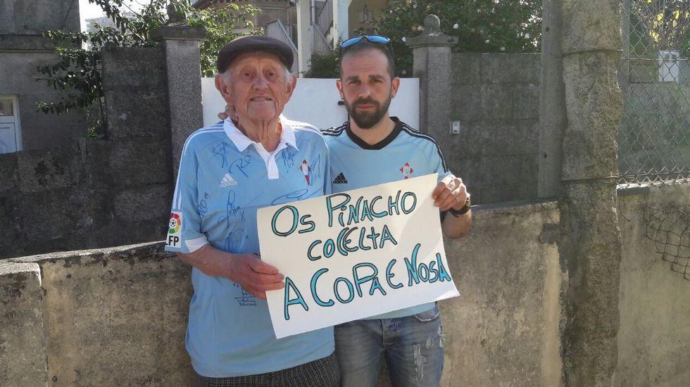 «Os Pinacho co Celta» son el celtista centenario Ignacio Pinacho y su nieto David