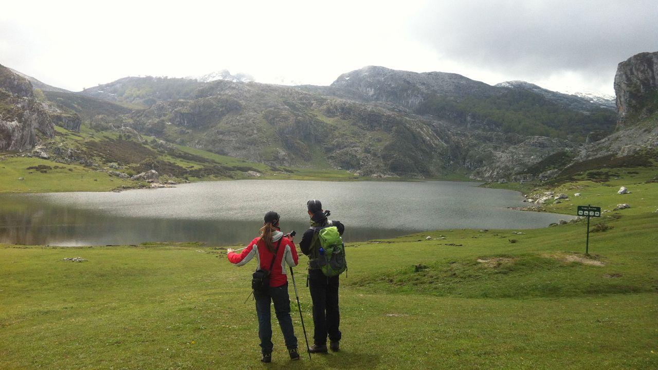 Unos turistas consultan un plano de Oviedo en la calle Uría.Lago Ercina
