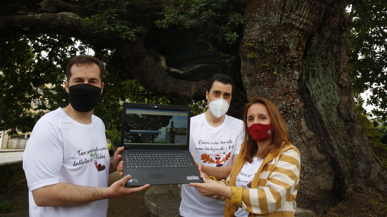 Guille González, Jorge Cruz y Esther Portela, cobijados bajo el carballo de Santa Margarita, en Pontevedra