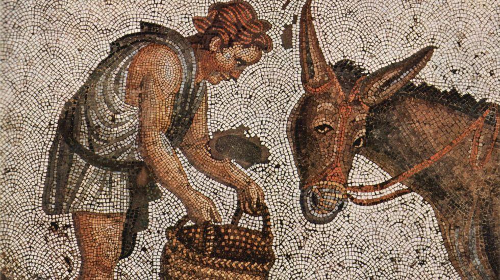 nobeldylanh.Joven alimentando a un asno. Mosaico bizantino del siglo V, que formó parte del pavimento del Gran Palacio de Constantinopla. Un metro cuadrado contiene unas 40.000 teselas (Museo de Mosaicos de Estambul)