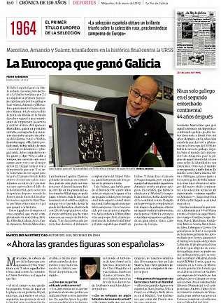 <span lang= es-es >Deportes</span>. El triunfo de España en la Eurocopa 64 es uno de los temas tratados
