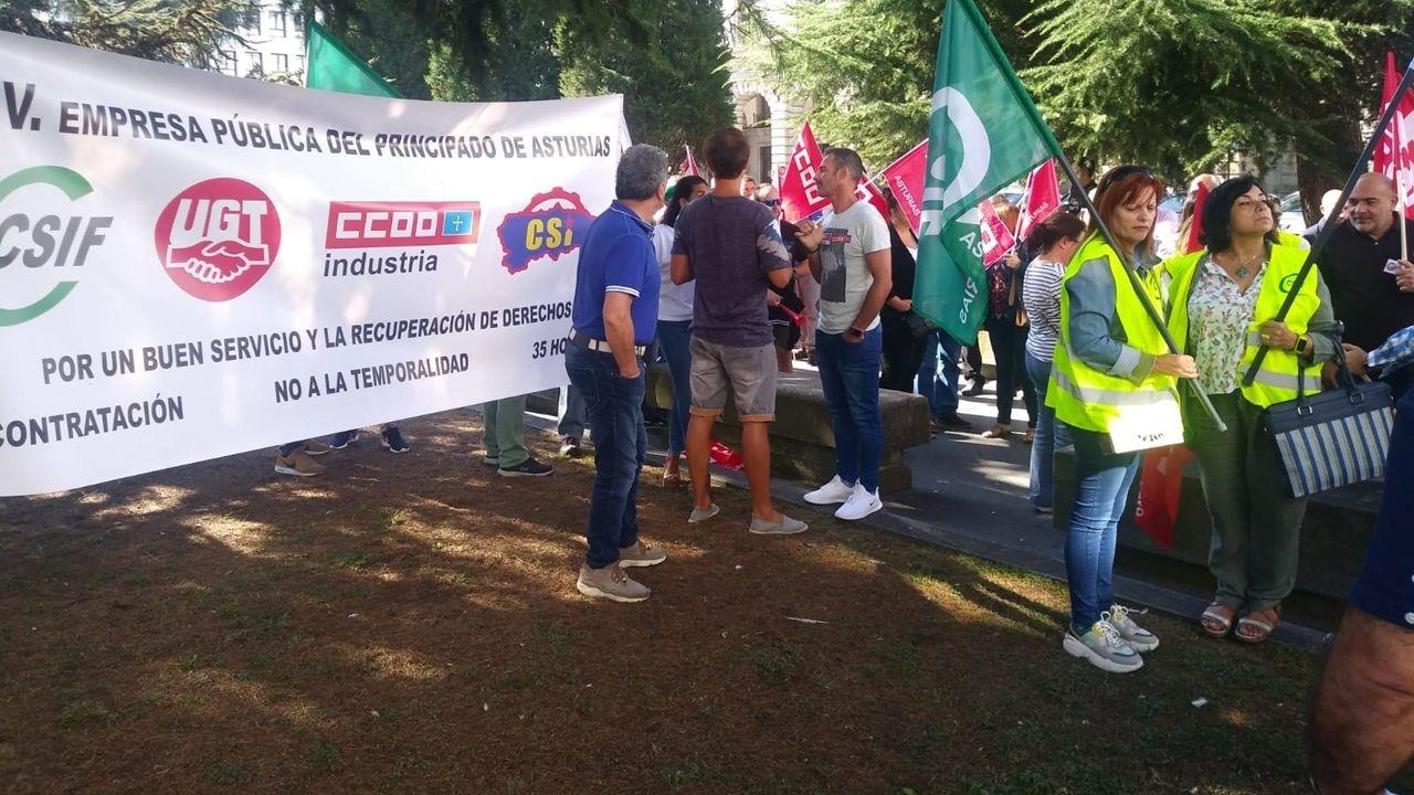 Imagen de la concentración de los trabajadores de ITV